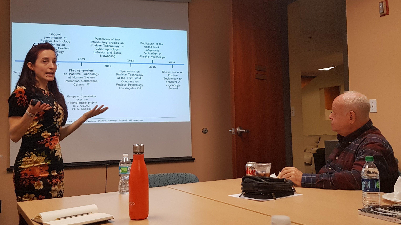 Alice Chirico con Prof. Marty Seligman - Centro di Psicologia positiva Filadelfia Penn University